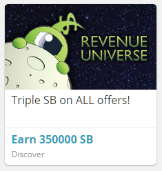 A one eyed alien piers over the moon, with the logo of Revenue Universe alongside in all caps. The caption reads Triple SB on ALL offers!