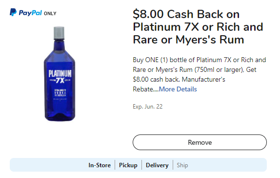 Photo of rebate for $8 Cash Back on Platinum 7X of Rich and Rare or Myer's Rum.